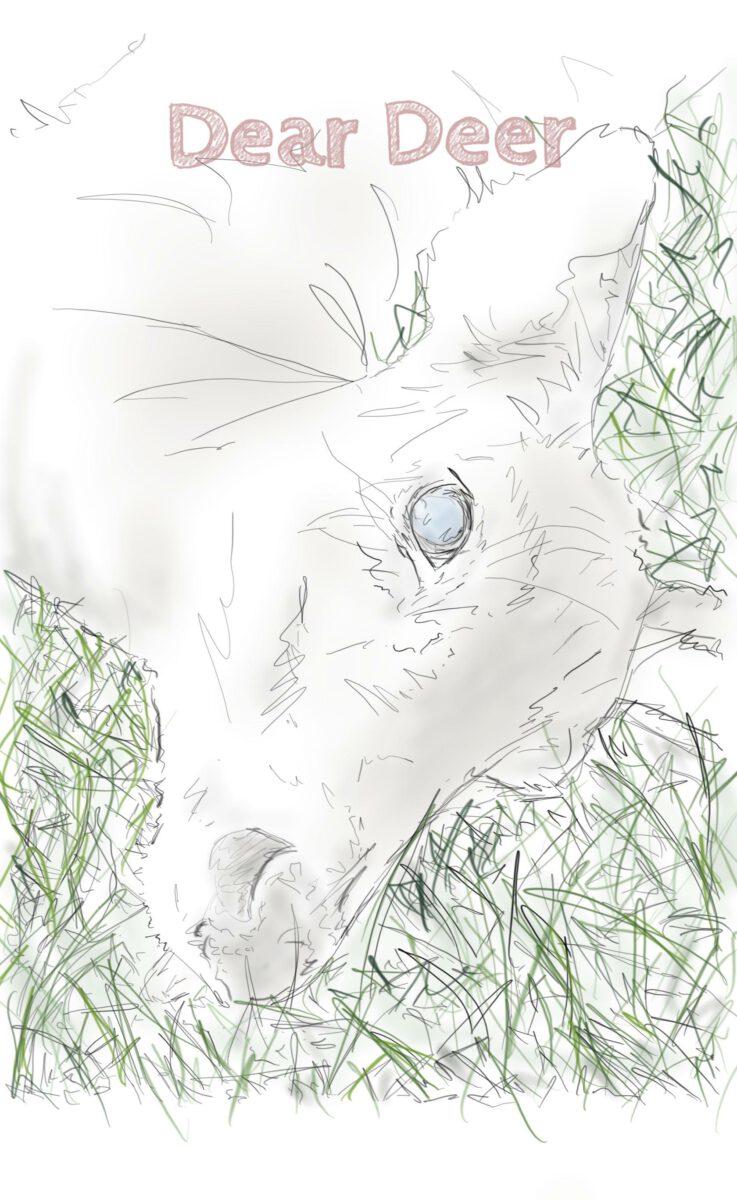 Piirroksessa näkyy nurmikolla peuran pää. Silmä on auki. Piirroksen ylälaidassa on teksti Dear Deer.